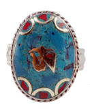 Om Symbol Brass Ring with Turquoise and Coral