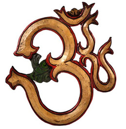 Yellow Om Symbol Wood Carving
