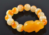 Orange Jade Foo Dragon Wrist Mala