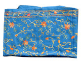 Pashmina Scarf, Blue, Handmade in Nepal, Embroidered by Hand