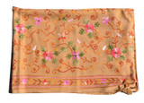 Pashmina Scarf, Handmade in Nepal, Premium Tan Scarf, Embroidered by Hand