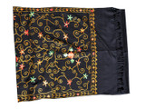 Pashmina Scarf, Premium Quality with Beautiful Embroidery, Black