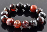 Red and Black Jade Lotus Flower Wrist Mala