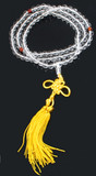 Rock Crystal Prayer Beads on a Yellow Tassel