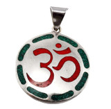 Sanskrit Om Symbol Pendant with Coral and Malachite Inlay