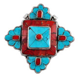 Sterling Silver, Coral, and Turquoise Flower Prayer Box Ghau