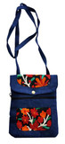 Suede Leather Navy Blue and Wool Flowered Passport Bag