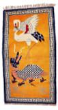 Swan and Dragon Rug in Orange or Yellow