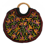 Tibetan Black Wool Flowered Handmade Circle Bag Purse