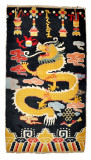 Tibetan Buddhist Dragon Rug in Black or Red