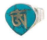 Tibetan Buddhist Om Symbol Turquoise and Sterling Silver Ring