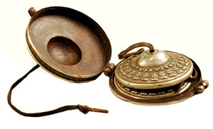 Tingshas in a copper case, handmade in Nepal
