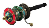Tibetan Copper Turquoise, Coral, and Jade Hand-held Prayer Wheel- out of stock