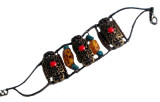 Tibetan Copper, Turquoise, Synthetic Amber Beaded Bracelet