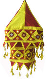Tibetan Cotton Handmade Lantern in Burgandy and Yellow