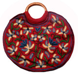 Tibetan Handmade Red and White Flowers Embroidered Bag Purse