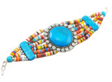 Tibetan Multi-Colored Yak Bone Bracelet with Turquoise Yak Bone Stone