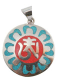Tibetan Om Symbol Pendant, Turquoise and Coral