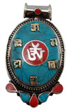 Tibetan Om Symbol with Turquoise and Coral Inlay