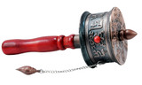 Tibetan Prayer Wheel, Hand-held Mani Wheel with Red Handle