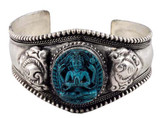 Tibetan Silver and Turquoise Buddha Bracelet