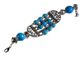Tibetan Silver and Turquoise Colored Yak Bone Bracelet