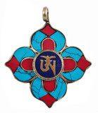 Tibetan Silver Om Symbol Turquoise, Lapis Lazuli, and Coral Pendant