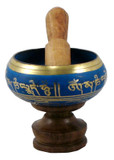 Himalayan singing bowl, blue