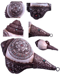 Conch Shell, Buddhist Conch Shell, Sankha with Mandala Design