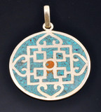 Tibetan Sterling Silver and Turquoise Mandala Pendant