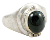 Tibetan Sterling Silver Black Onyx Poison Ring