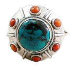 Tibetan Sterling Silver Turquoise and Coral Circle Ring