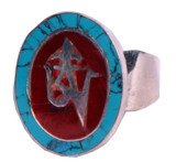 Tibetan Sterling Silver Turquoise Coral Om Ring