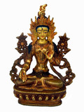 White Tara Buddha Statue, Handmade from Copper and Gold