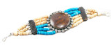 Tibetan Yak Bone Blue and Brown Bracelet