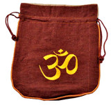 Brown Hemp Bag with Om Symbol Embroidery.