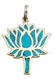 Turquoise and Copper Lotus Flower Pendant