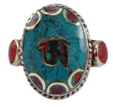 Turquoise and Coral Om Symbol Ring