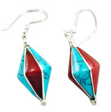 Turquoise and Coral Sterling Silver Earrings