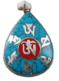 Turquoise and Coral Sterling Silver Om Mani Padme Hum Pendant