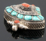 Turquoise and Coral Sterling Silver Tibetan Buddhist Prayer Box, Gau