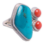 Turquoise and Coral Sterling Silver Tibetan Ring
