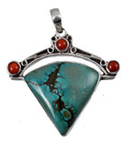 Turquoise and Coral Sterling Silver Triangle Pendant