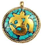 Turquoise and Gold-Plated Om Pendant