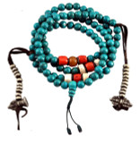 Turquoise, Coral, and Beeswax Mala with Dorje Counters
