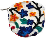 White Embroidered Round Change Purse