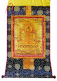 White Tara on Gold Tibetan Buddhist Brocade Thangka- out of stock
