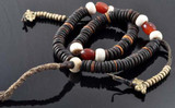 Yak Bone, Beeswax, and Coral Mala with Two Copper Mala Counters