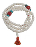 Yak Bone, Coral, and Turquoise Mala