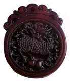 Chinese Jade Dragon Pendant in Dark Brown
